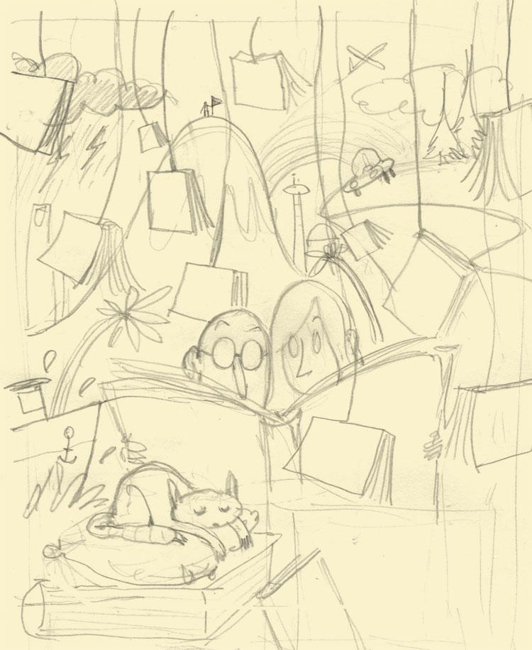 Crayonné illustration rentrée littéraire de l'Express