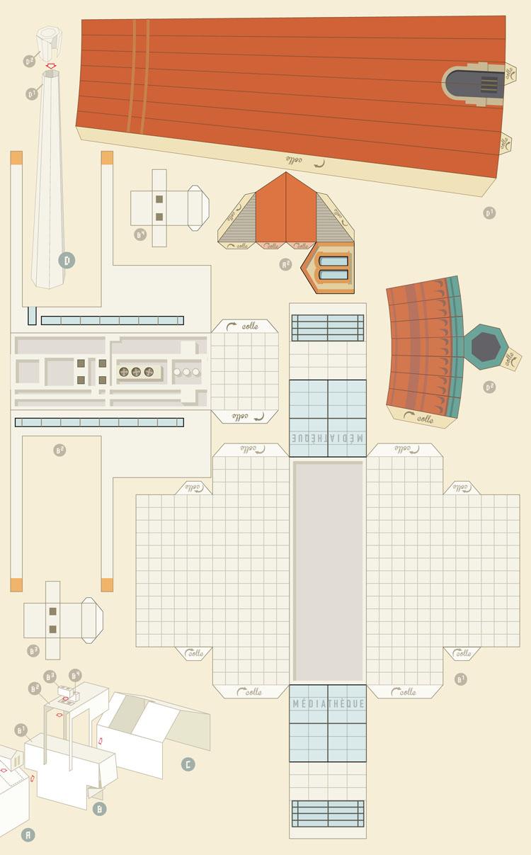 Papercraft de la Médiathèque Manufacture de Nancy