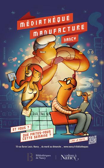 L'affiche de la Médiathèque Manufacture de Nancy