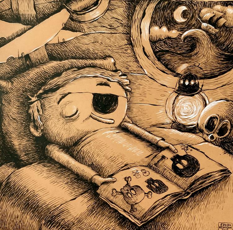 Sleeping pirate - encre de chine