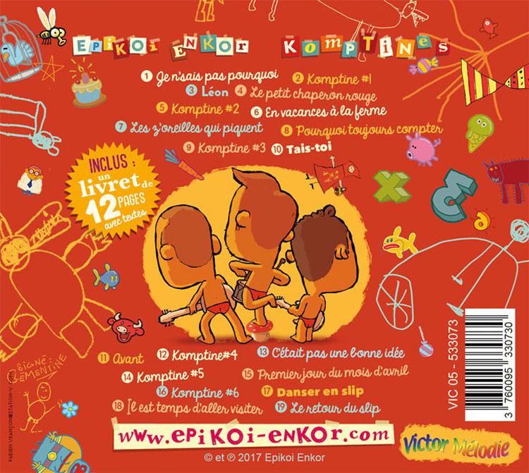Komptines le dos du CD